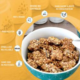 granola multigraines bio sans gluten, vegan sans sucre ajouté ni conservateur sans ogm ni pesticides